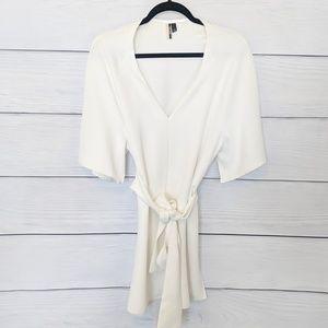 Topshop White Tunic Blouse Tie Waist Cute